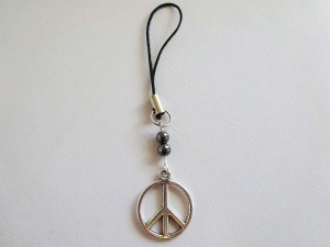 Hematite Mobile Ph Charm - Peace symbol