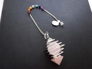 Rose Quartz Chakra Pendulum On Chain