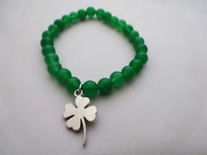 Green Jade Bracelet Shamrock Charm