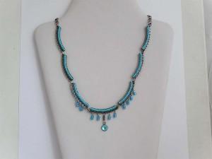Blue Bead Curve Necklace N356