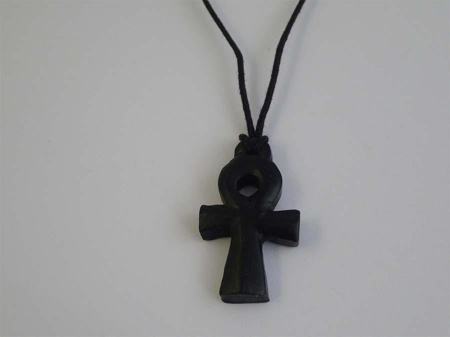 Black Soapstone Egyptian Cross N357