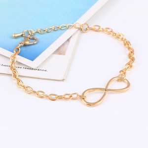 Mystic Angels New Fashion Popular Gold Plate Infinite Bracelet & Bangle Charm Chain Bracelet With Extension Chain  Infinity gold Extension Chain Chain