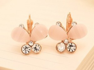 plain pink butterfly earrings