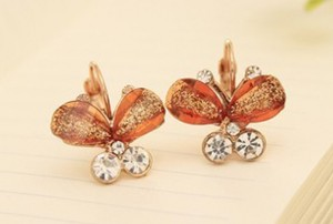 sparkly pink butterfly earrings