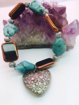 turquoise bracelet pattern heart