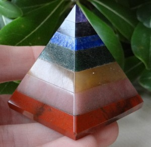 7 CHAKRA CRYSTAL PYRAMID WITH 7 DIFFERENT GEM STONES