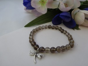 Smoky Quartz Stretch Bracelet Dragonfly Charm
