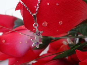Purple Double Star Rhinestone Pendant