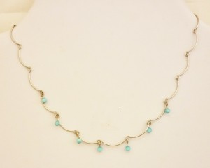 Blue Cats Eye Curve Necklace