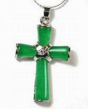 Mystic Angels Sterling Silver Genuine Green Jade Cross On Chain/Leather - Love Money Protection  Sterling Silver Money Peace Luck Love Jade Green