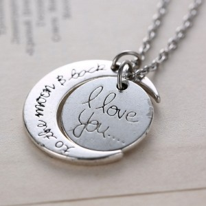love you necklace silver