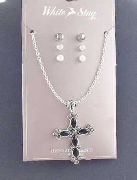 Mystic Angels Marquisite & Black Onyx Cross Pendant & 3 Prs Stud Earrings  Teeth Surgical Steel Strength set self control Pearl Marrow Marcasite Extension Chain Decision Making Bones blood