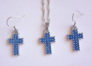 Blue Crystal Cross Set
