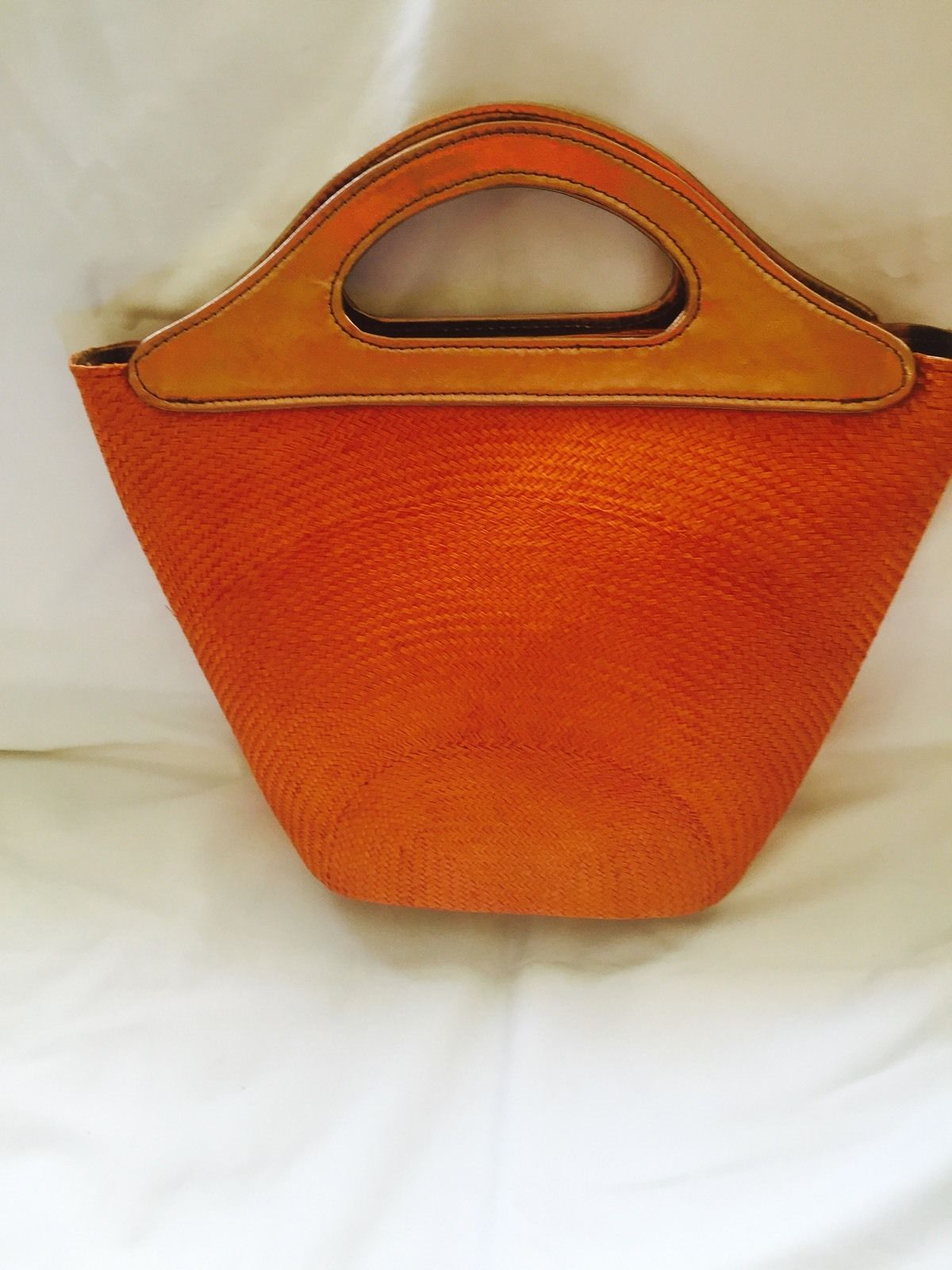 HB002 orange handbag bronze handles 1