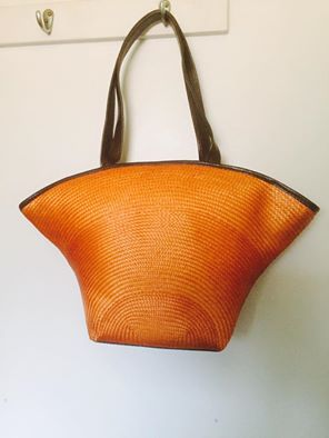 orange handbag brown handles