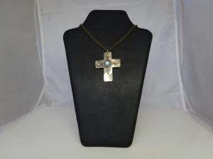 Brown Mother Of Pearl & Cats Eye Cross