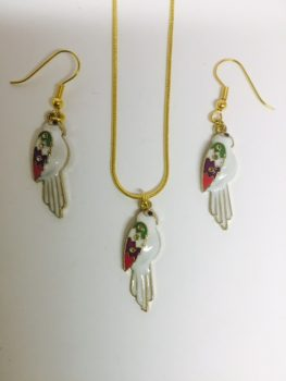 , Stunning & Unusual Multi Colour White & Gold Parrot Bird Necklace & Earring Set, Mystic Angels