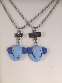 Mystic Angels BEST/FRIEND SILVER PLATED NECKLACES WITH BLUE ELEPHANT SMILING  Smiling Silver Girls Elephant Blue Best Friends