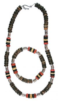 orange_coco_bead_choker_bracelet_set